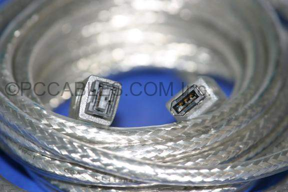 10FT FIREWIRE 1394B BILINGUAL CABLE SILVER 9PIN 6PIN