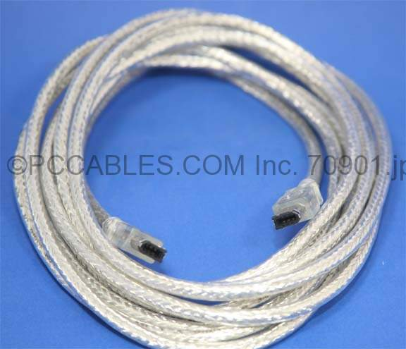 14.5FT FIREWIRE CABLE SILVER 6PIN 6PIN