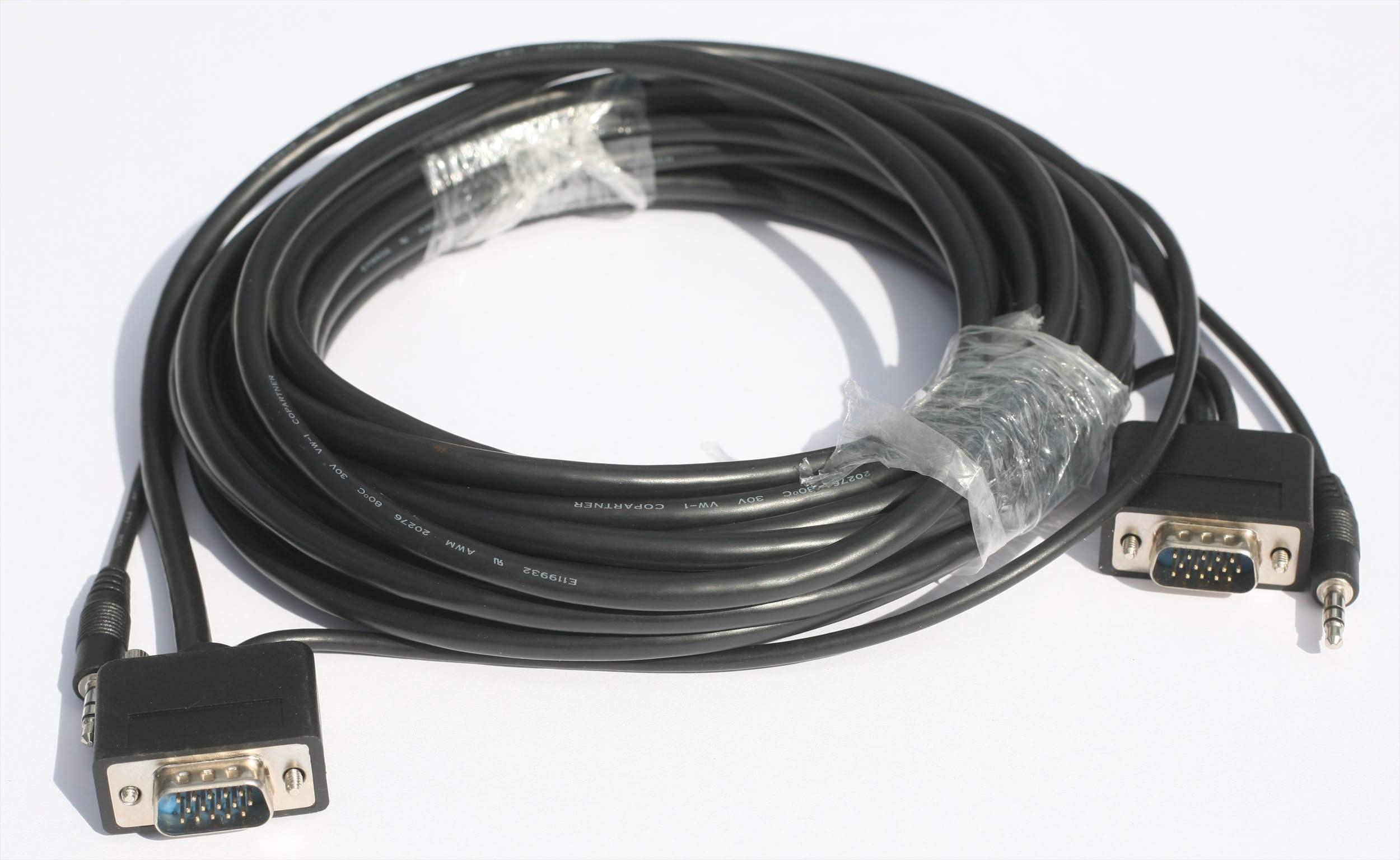 15FT SLIM VGA Monitor Cable with Audio 3.5 M-M