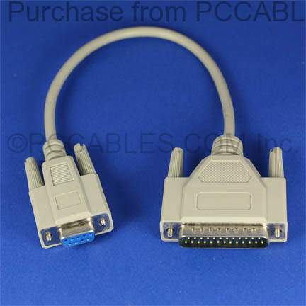 1FT MODEM CABLE DB9-F to DB25-M