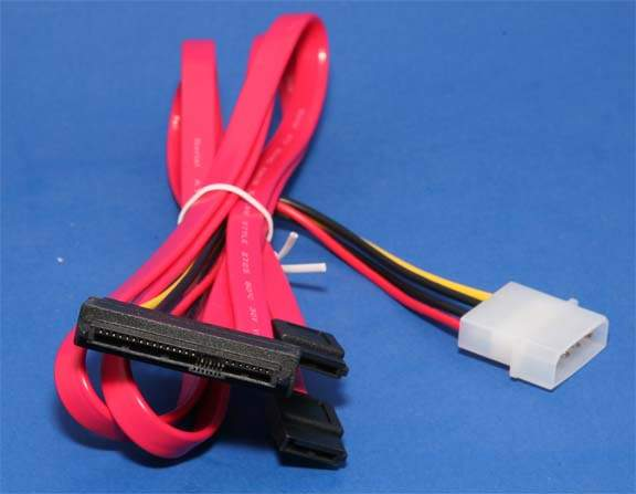 25 Inch SAS 29 Pin 2X7 SATA Cable Red