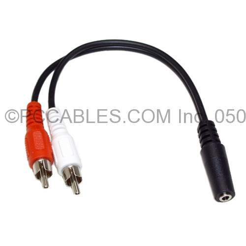 3.5mm STEREO JACK SOCKET F TO 2 RCA M CABLE 6IN