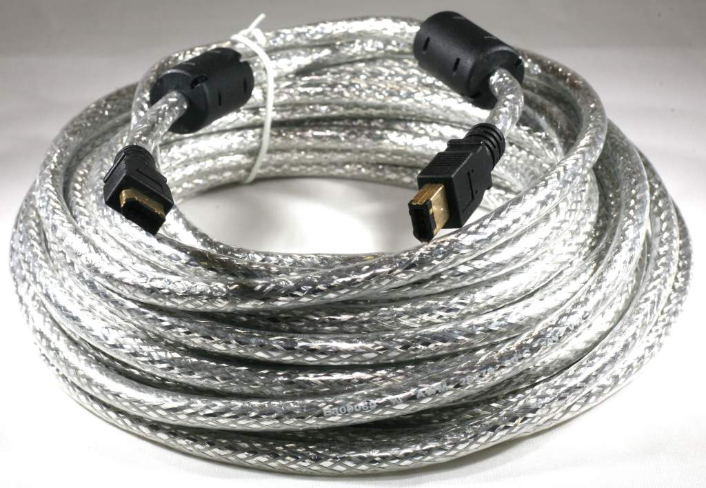 33FT 10M Firewire Cable Silver 6PIN 6PIN