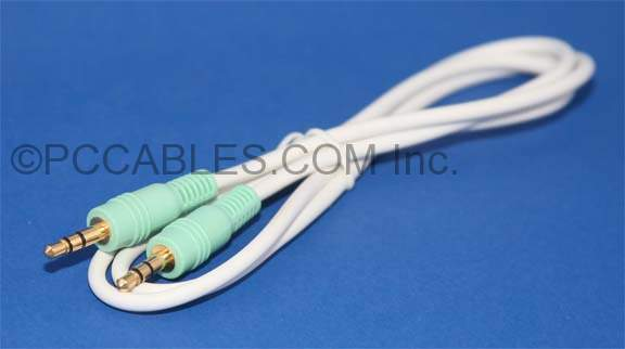 3FT STEREO AUX CABLE White 3.5mm PLUG Male Male