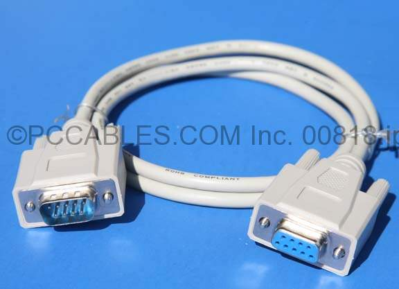 3FT DB9-M to DB9-F SERIAL CABLE BEIGE UL2464