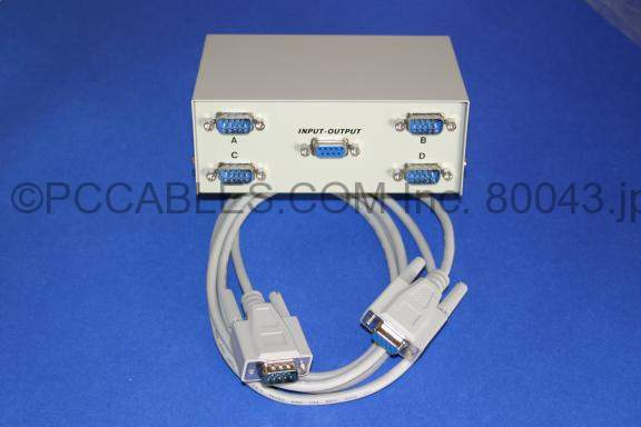 4-Way Serial Switch Box 4 DB9-Male to 1 DB9-Female with Cable