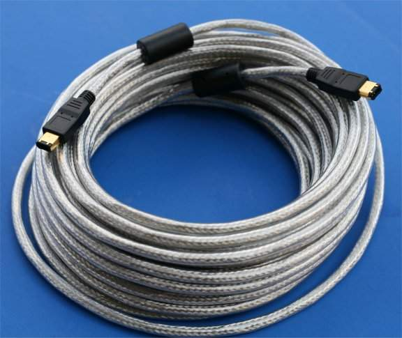 50FT 15M Firewire Cable Silver 6PIN 6PIN