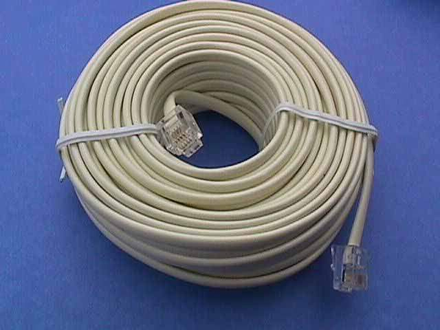 50FT IVORY PHONE CABLE LINE RJ11