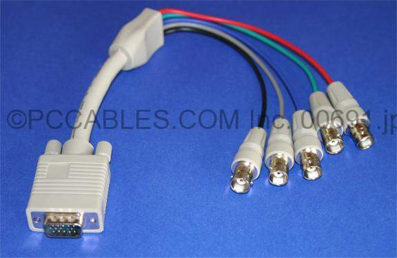 5 BNC-F TO SUPER VGA HD15-M CABLE 1FT