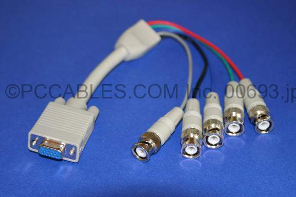 5 BNC-M TO SUPER VGA HD15-F CABLE 1FT