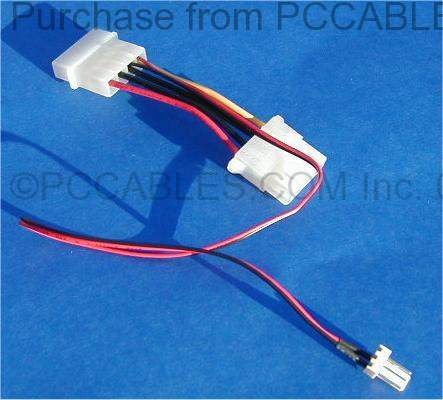 CPU CASE FAN 3-WIRE to POWER SUPPLY 4-WIRE TAKE-OFF POWER CABLE