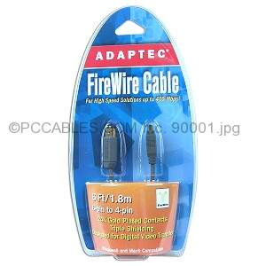Firewire Cable 6ft Gray 6PIN 4PIN by Adaptec SPECIAL