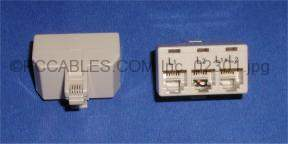 PHONE LINE SPLITTER RJ11 TRIPLEX L1-L2 Connector 1M to 3F