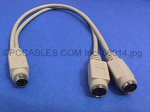 PS/2 PS2 Y-SPLITTER Cable MiniDin6