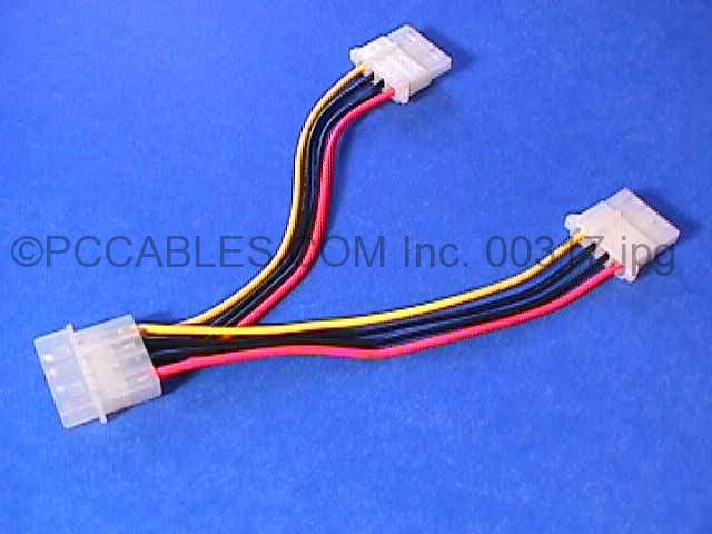 Power Cable Y Splitter 5.25 to 2-5.25 8-inch