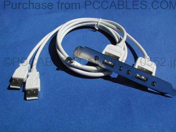 USB Panel Mount Cable Dual Port Bulkhead Cable Male-Female 3 Feet
