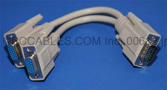 VGA PORT To TWO MONITOR 6IN VGA SPLITTER CABLE HD15 M-F-F