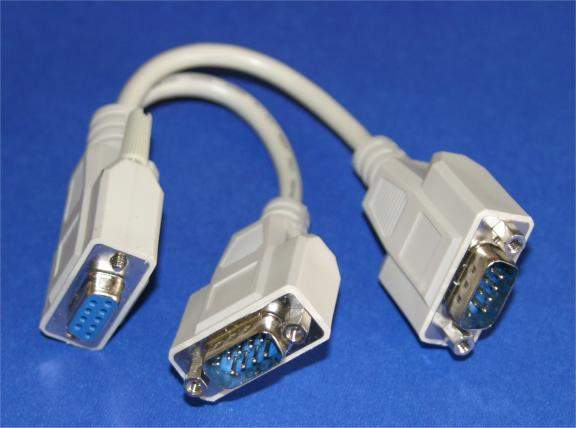 Y-SPLITTER SERIAL CABLE DB9-Female to DB9-Male DB9-Male with NUTS 8IN