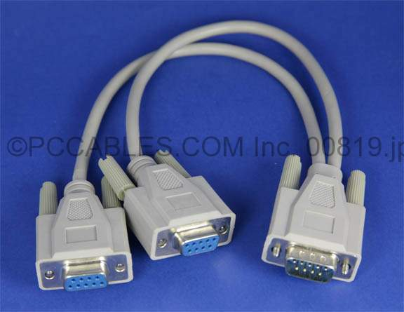 Y-SPLITTER SERIAL CABLE DB9-M to DB9-F DB9-F 12IN