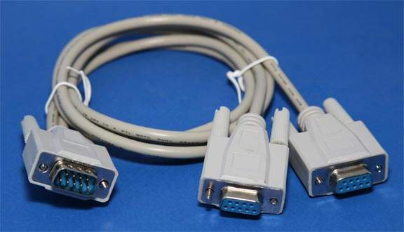 Y-Splitter Serial Cable DB9-Male to DB9-Female DB9-Female 3FT