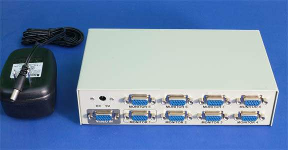 1 PC to 8 Monitors SVGA AMP Splitter