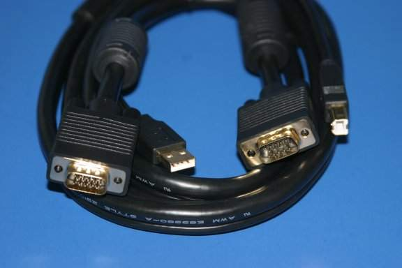 10FT Video HD15 Male to Male USB Type A Male to USB Type B Male KVM CABLE