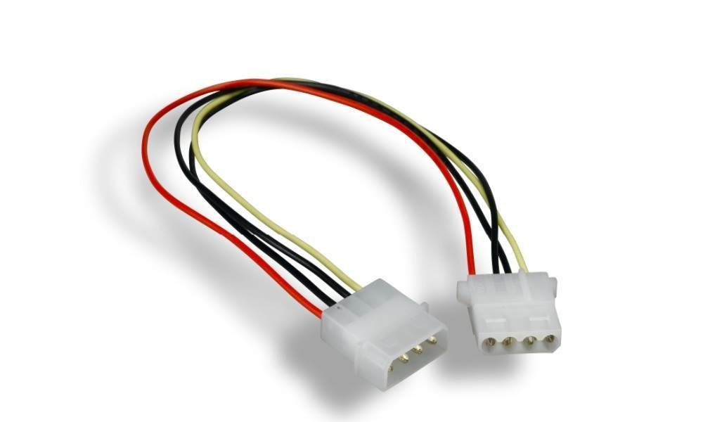 12 Inch Power Cable Extension 5.25 Molex 4 Pin Male to Female