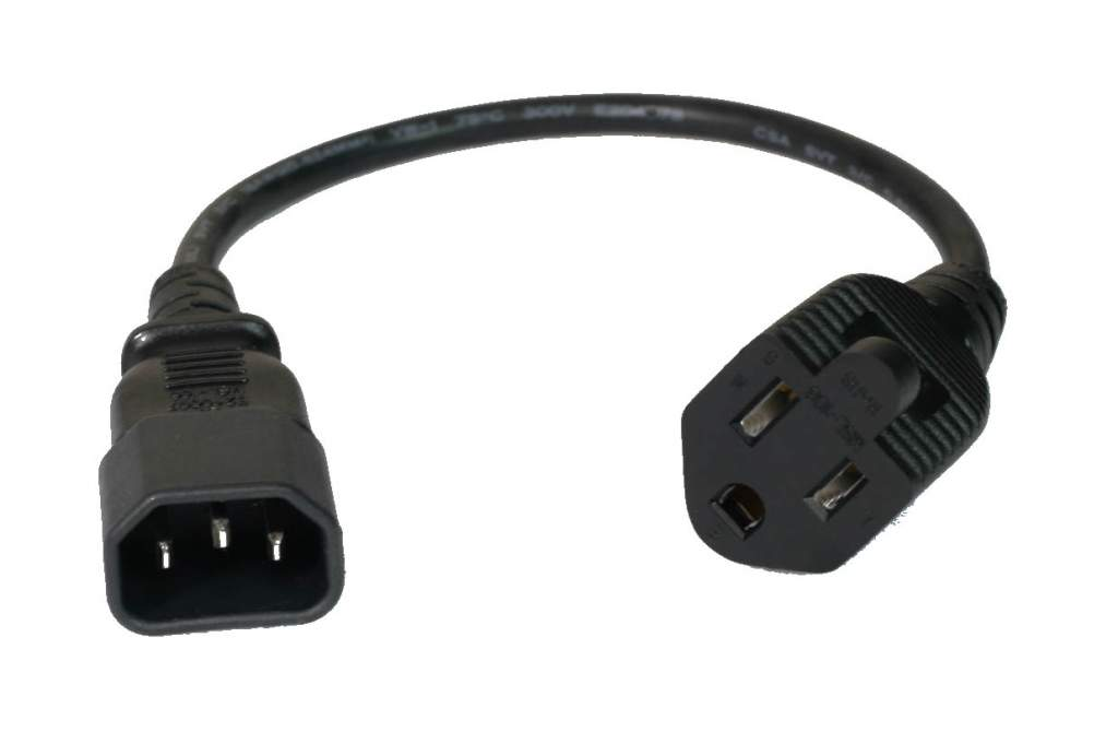 1FT 3-prong to Computer Power AC Power Adaptor NEMA5-15J IEC320 C14