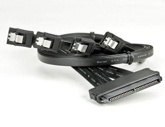 32-Pin SAS 4 X 7-Pin SATA Cable Black with Latch SFF-8484 Fan Out 75cm USA