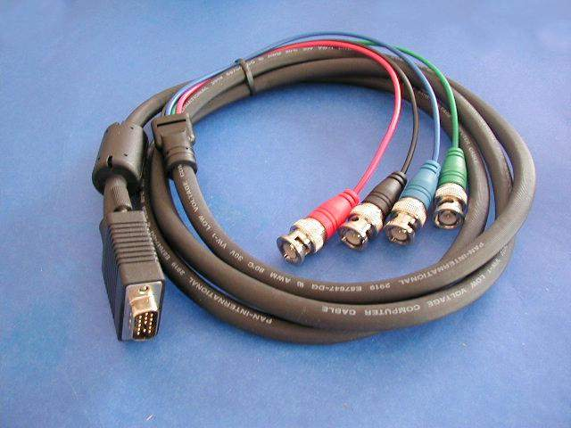 4 BNC TO SUPER VGA HD15-M CABLE 6FT