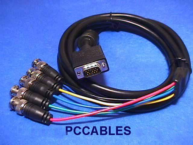 5 BNC TO SUPER VGA HD15-M Cable 6FT