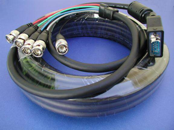 5 BNC to SUPER VGA HD15-M Cable 35FT