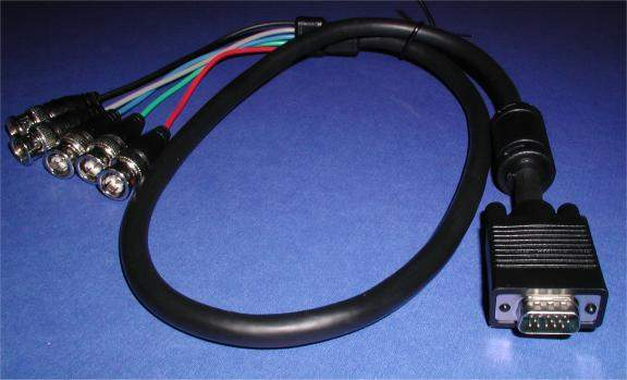 5 BNC to SVGA HD15-M Cable 3FT