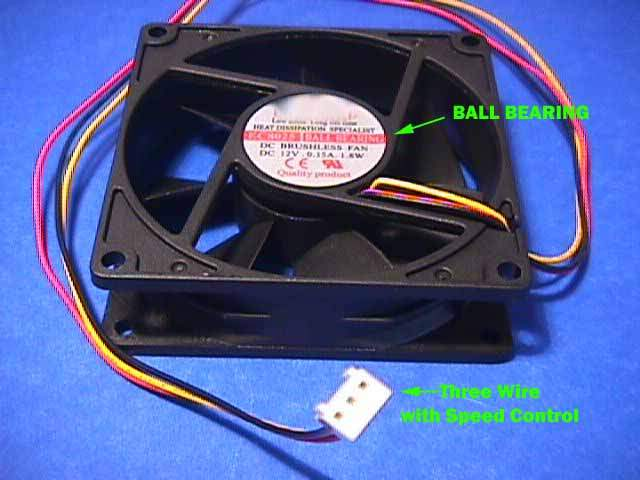 80x80 Tower Case Fan Ball Bearing 3-wire 80mm