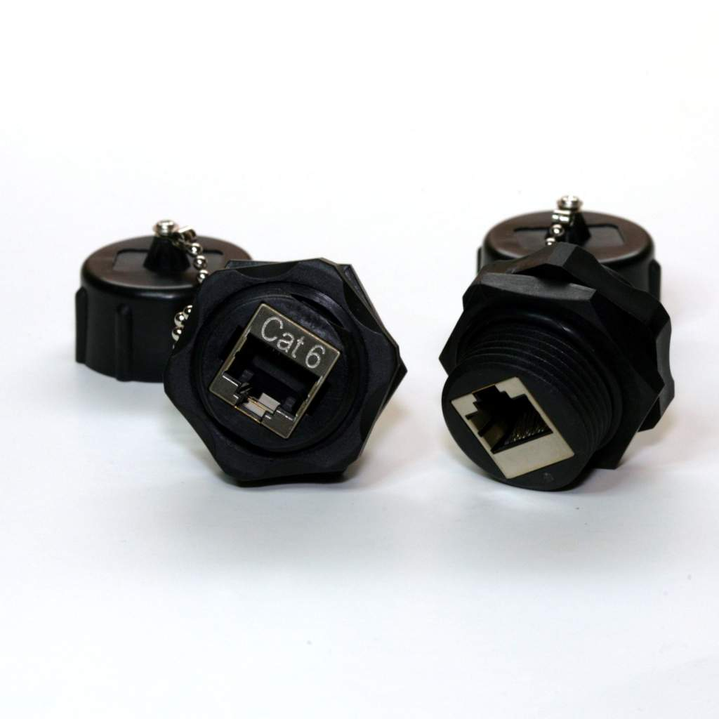 CAT.6 RJ45 Shielded INDUSTRIAL PanelMOUNT BULKHEAD COUPLER WITH DUST CAP