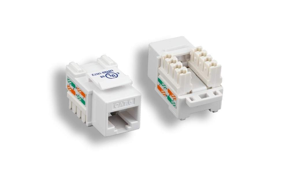 CAT6 RJ-45 Punch-Down Keystone Jack White