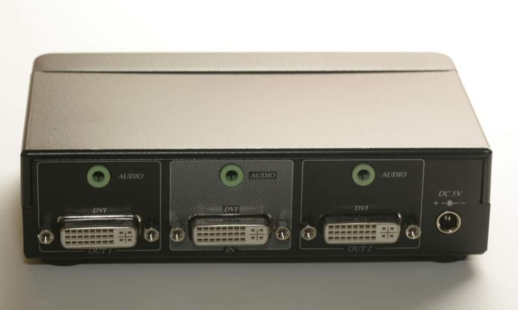 DVI HDCP 1x2 Signal Splitter Amp Powered with Audio