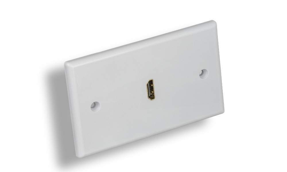 HDMI Wall Plate 1-PORT Decora-White with Cable