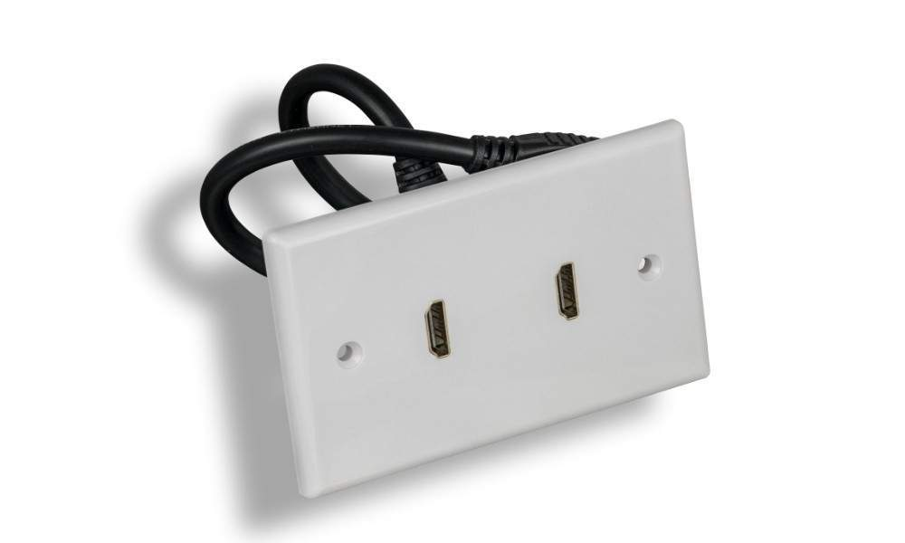 HDMI Wall Plate 2-PORT Decora-White with Cable