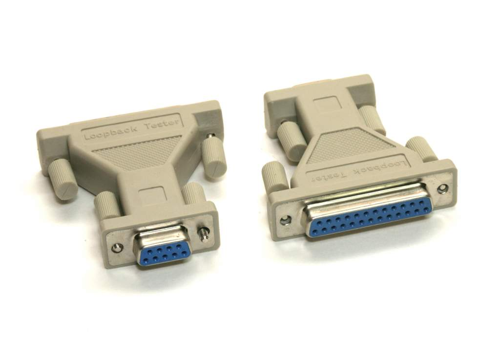 Loopback Adapter Tester Plug Serial DB25-F DB9-F