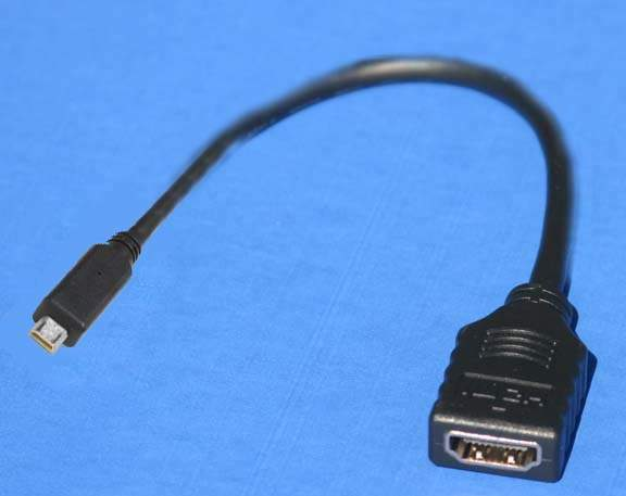 Micro HDMI Type-D Male to HDMI Type-A Female Adapter cable 8 inch 1.4