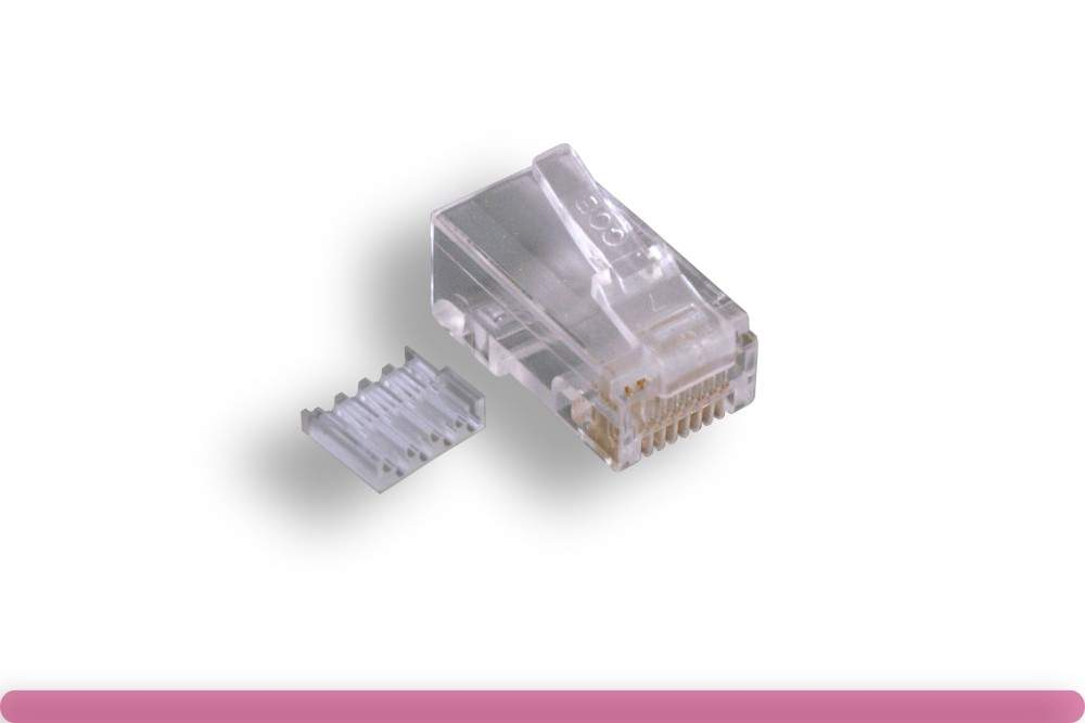 RJ45 8P8C Modular Plug Crimps for Solid-Round CAT6 Easy Load Bar 100-Pack