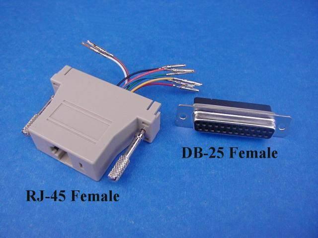 RJ45 to DB25-Female Modular Adapter