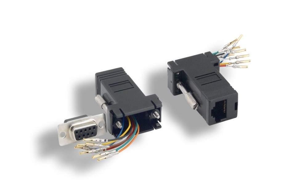 RJ45 to DB9-Female Adapter Black RS232 Modular DB9F