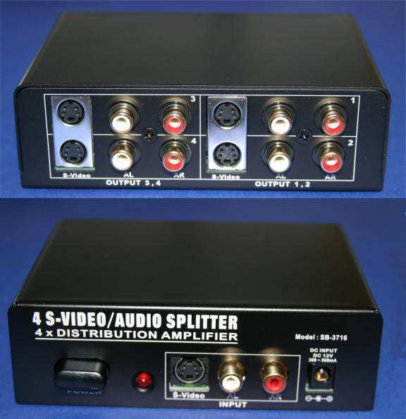 SVideo AMP with Audio 4-way Splitter SB-3716