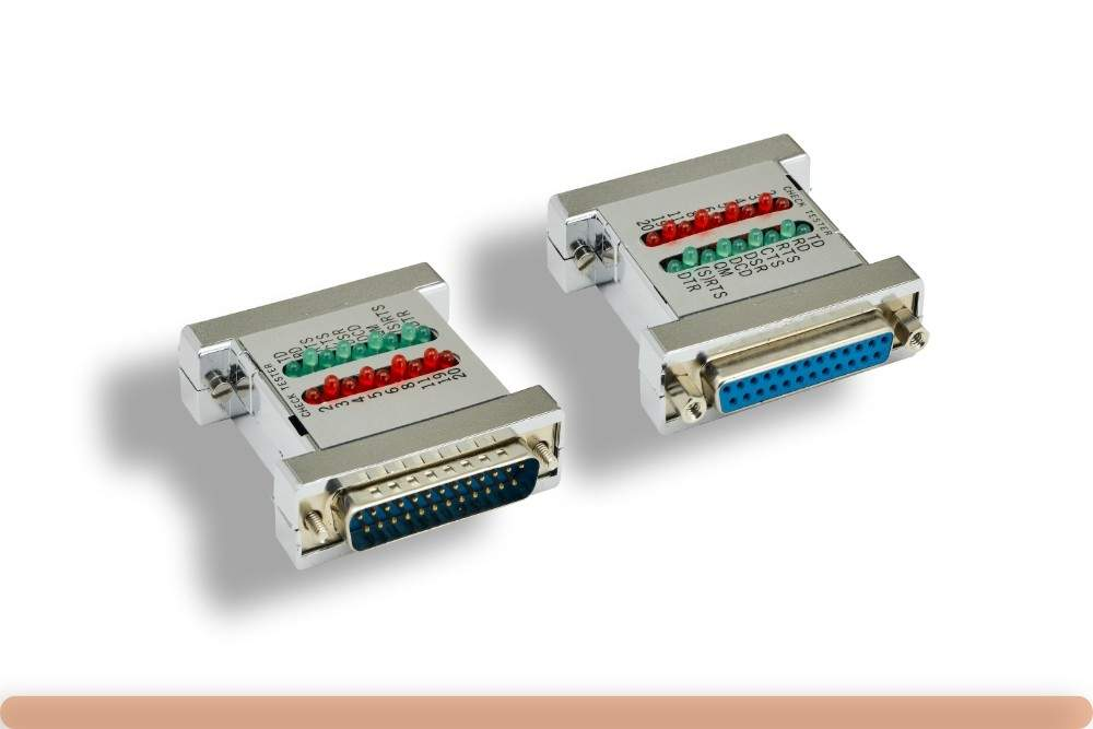 Serial Check Tester with LEDs DB25-M to DB25-F