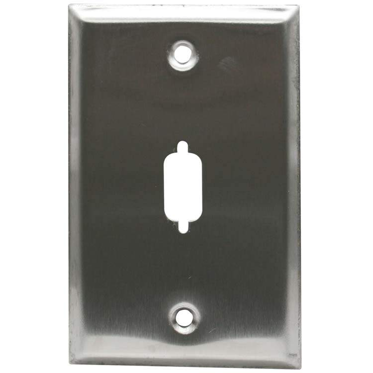 Stainless Steel Wall Plate DB9 or HD15 1-Hole Serial or VGA Port