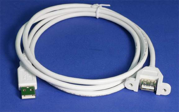 USB 2.0 Panel Mount Cable Single Port Bulkhead Cable Male-Female 4.5 Feet