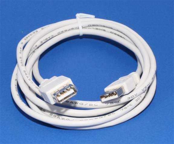 USB 2.0 Passive Extension Cable 6Ft Male Female White