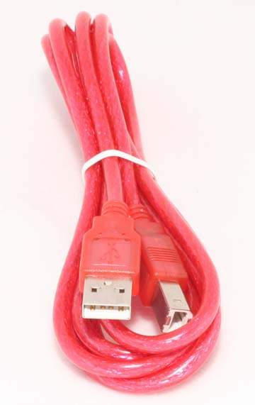 USB Cable Translucent Red A to B 6FT